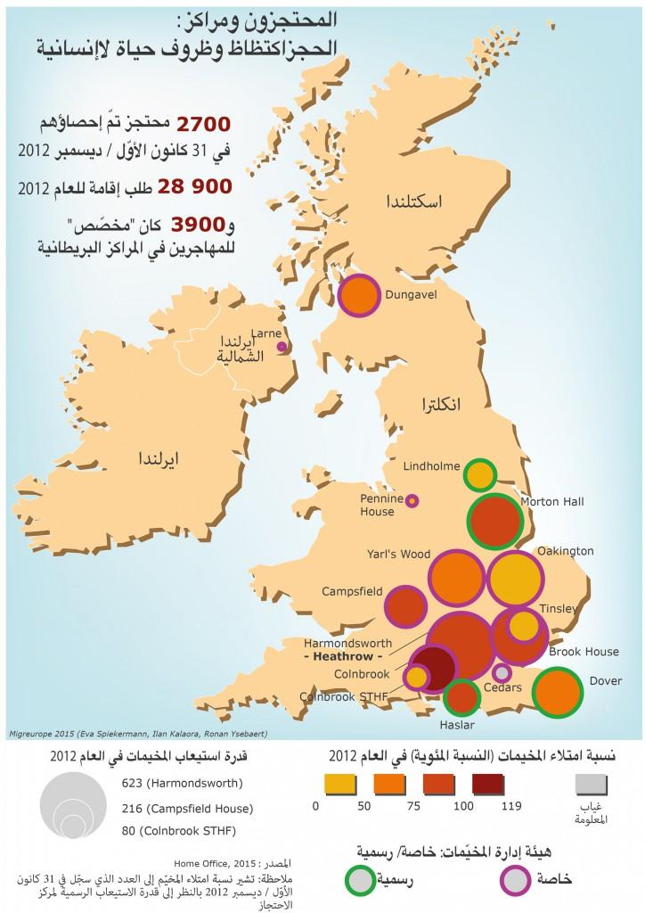 محتجزون ومراكز حجز في المملكة المتحدة: اكتظاظ وظروف حياة لاإنسانية